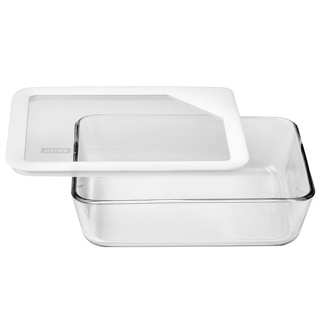 Ultimate 6-cup Rectangular Glass Food Storage Container with White Lid