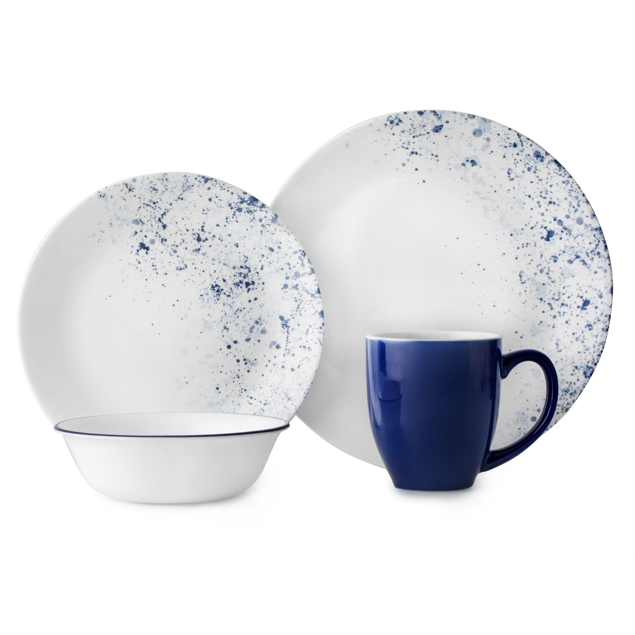 set of two blue plates with speckles