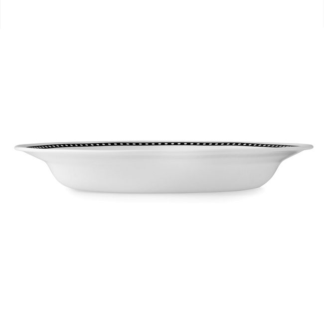 Livingware Ribbon 15-oz Wide Rimmed Bowl, Black & White