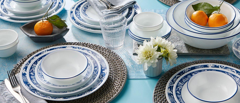 True Blue Pattern 50-piece dinnerware set