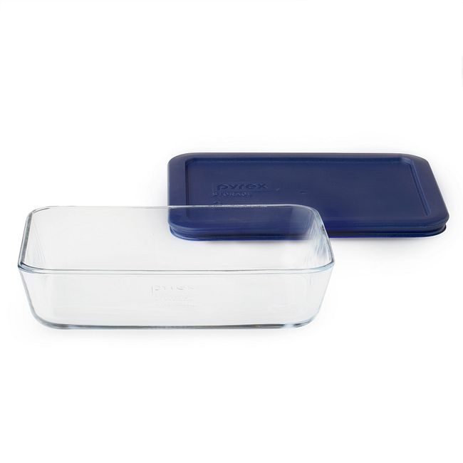 3-cup Rectangular Glass Food Storage Container with Blue Lid