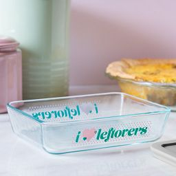 'I Love Leftovers' Rectangle Storage Dish on table