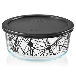 Noir 7-cup Glass Food Storage Container with Black Lid