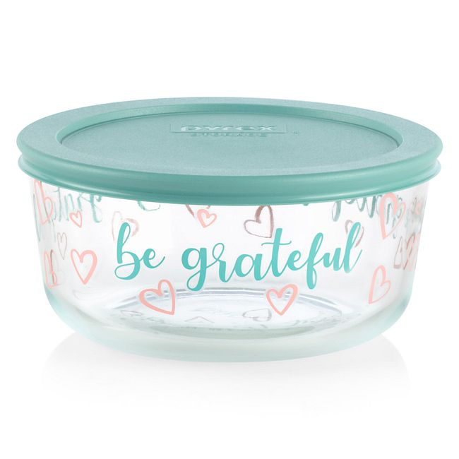 Be Grateful 4-cup Food Storage Container with Light Aqua Lid