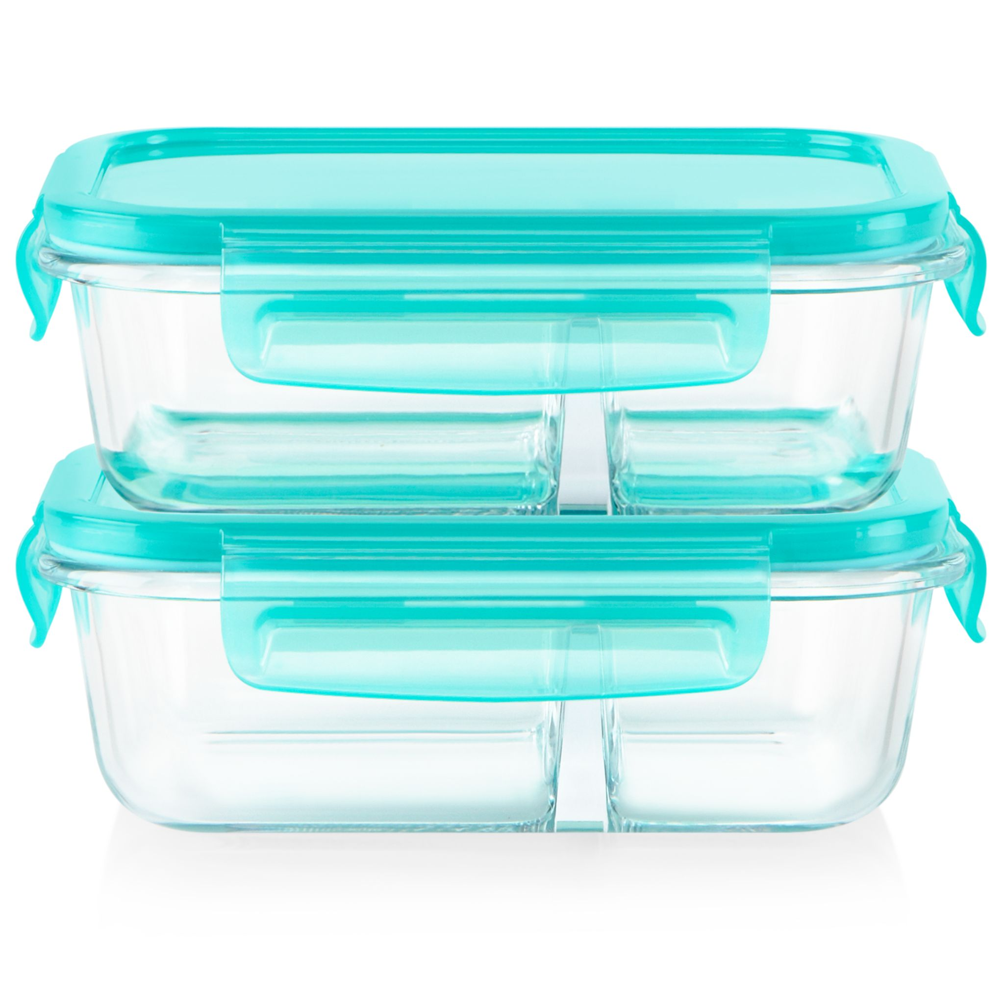 MealBox 4-piece 2.1-cup Divided Glass Food Storage Set