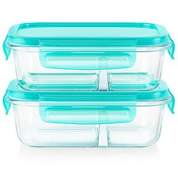 Meal Box 4-piece 2.1 cup Divided Glass Storage Set - front view