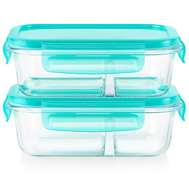 MealBox™ 4-piece 2.1-cup Divided Glass Food Storage Set
