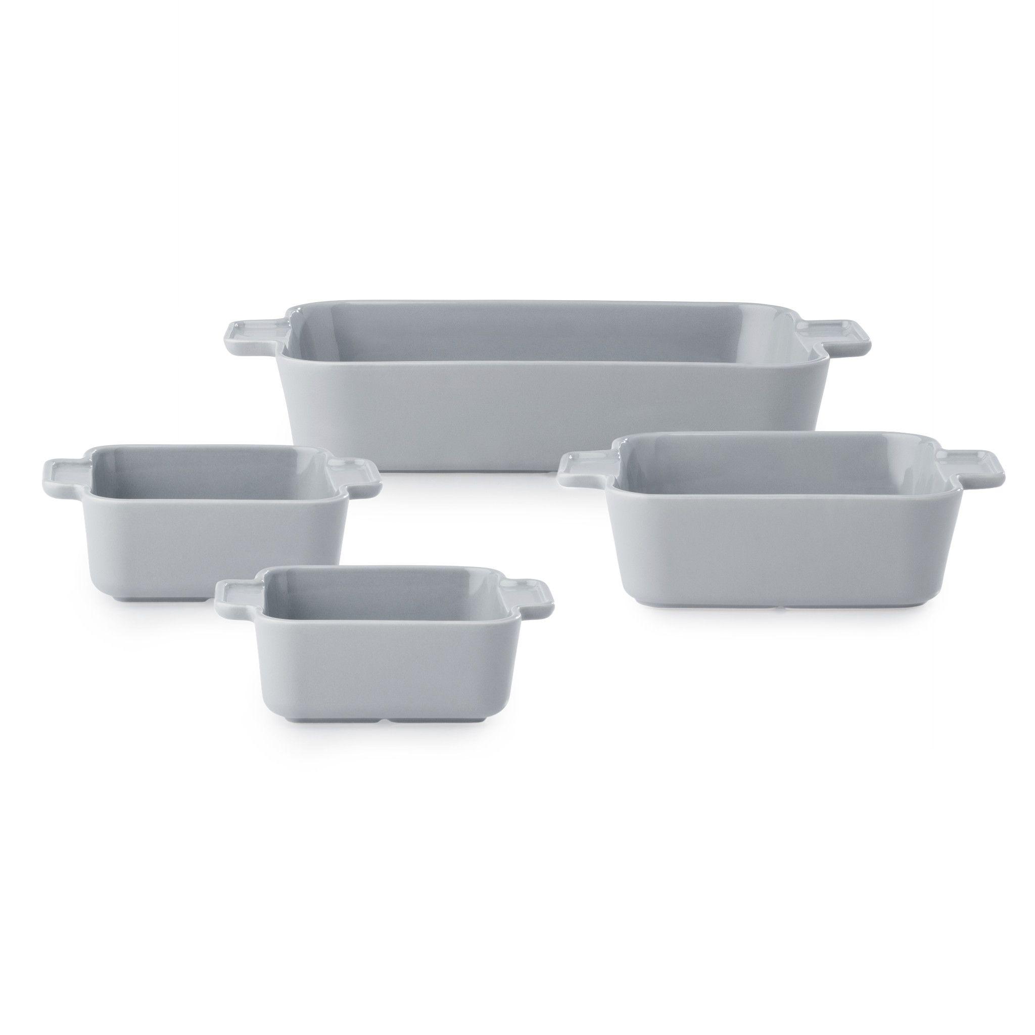 Modern Ash Stoneware 4-piece Bakeware Set