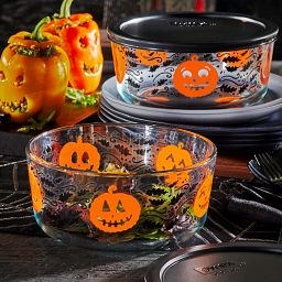 Pumpkin 7-cup Glass Storage Container on the table with food