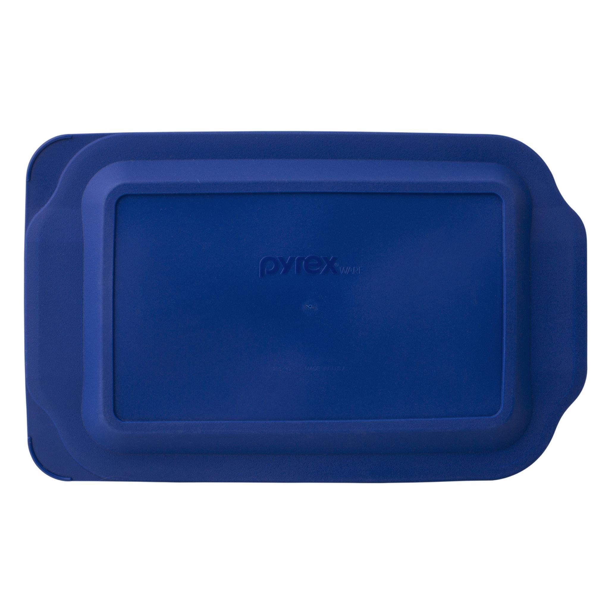 Pyrex Watercolor Collection 3-Qt Oblong Baking Dish, Blue Plastic Lid