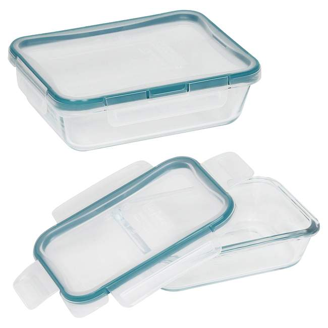 4-piece Rectangular Food Storage Container Set made with Pyrex Glass