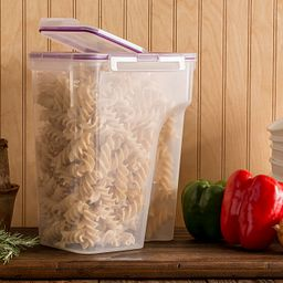 Airtight Food Storage on shelf with pasta