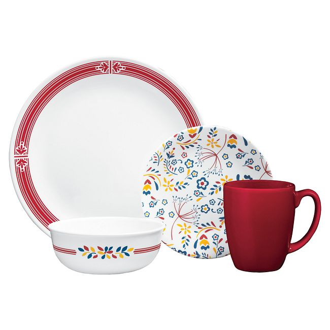 Signature Prairie Garden Red 16 Pc Dinnerware Set Corelle