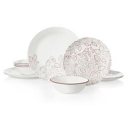 Leaf Stitch 12-piece Dinnerware Set, Service for 4 front view
