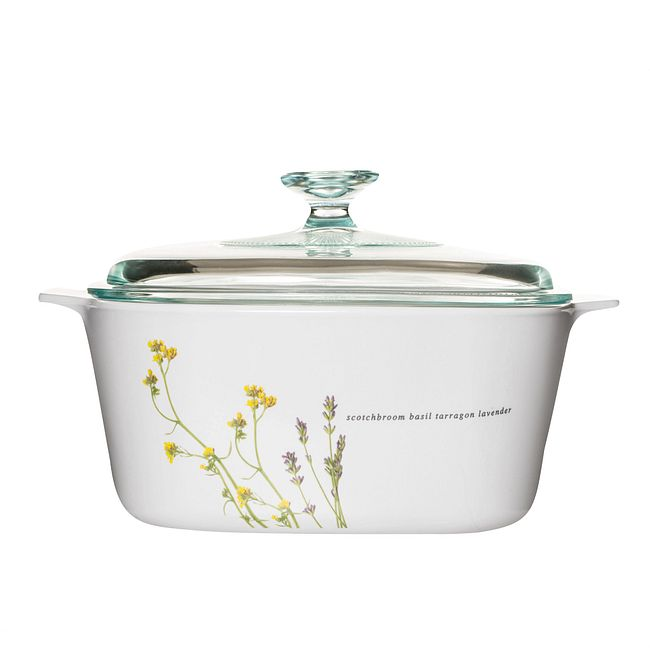 Stovetop Pyroceram European Herbs 5L Casserole w/ Glass Cover