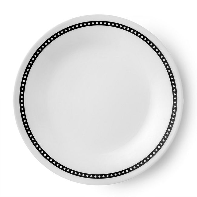 "Livingware Ribbon 6.75"" Plate, Black & White"