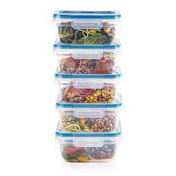 Total Solutions 10-piece 5.5-cup Food Storage Container Set stack on top of each other with food inside each