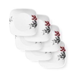 """Kyoto Leaves 10.5"""" Square Dinner Plates, 6-pack"""