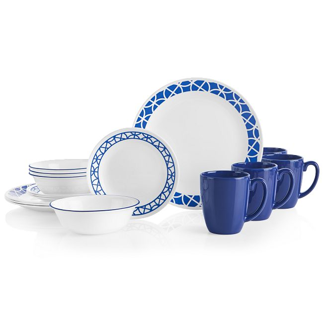 Cobalt Circles 16-piece Dinnerware Set, Service for 4