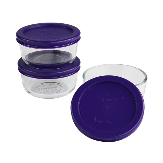 6-Piece Glass Food Storage Container Set with Purple Lids
