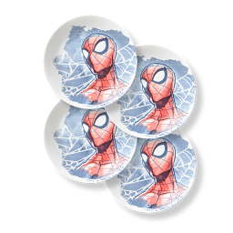 """Marvel Spider-Man 8.5"""" Salad Plates, 4-pack with text that says triple-layer-strong-glass-say goodbye to chips & cracks"""