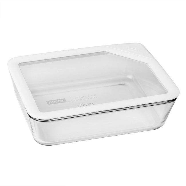 6-cup Rectangular Glass Food Storage Container with White Lid