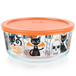 Fiendish Friends (cats & pumpkins) 7-cup Glass Food Storage Container with Orange Lid