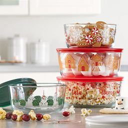 8-piece Hoiday Glass Food Storage Set with snacks inside