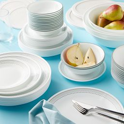 Mystic Gray 78-piece Dinnerware Set, Service for 12 on the table
