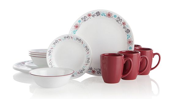 Nordic Bloom corelle dinnerware set pattern featuring a rim of rose, turquoise and gray flowers