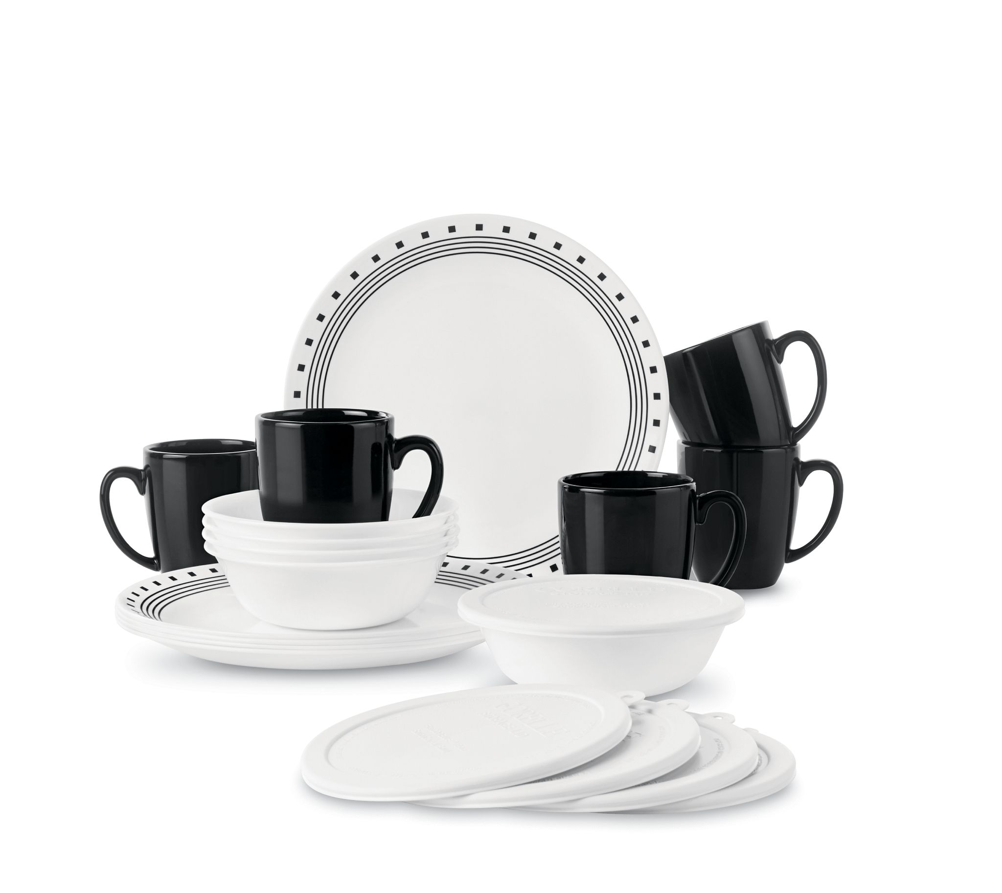 City Block 16-pc Dinnerware Set with Lids, Service for 4