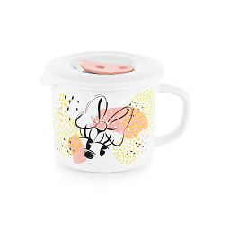 Minnie Mouse 20-ounce Meal Mug™ with Vented Cover on, front side shows Minnie Mouse's face