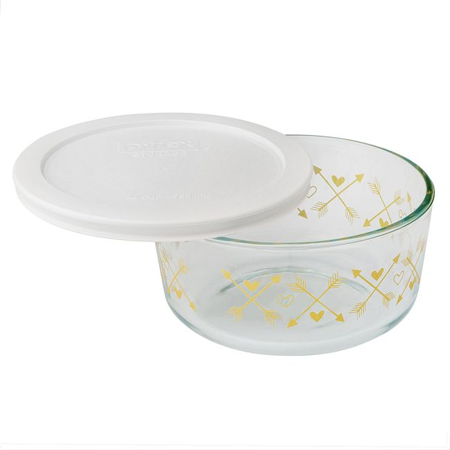 Simply Store 4 Cup Crest Gold Storage Dish w/ White Lid