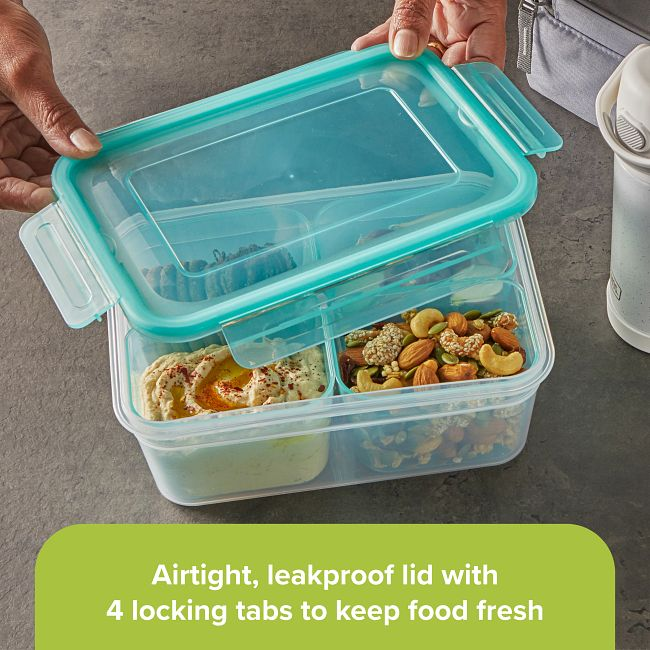 Meal Prep Divided: 8.5-cup Rectangle Storage Container, 4-Section