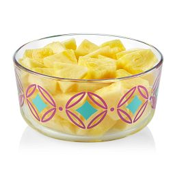 Diamonds 4-cup Glass Food Storage Container with pineapple inside