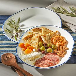 "Breathtaking Blue 12.25"" Serving Platter Set, 2 pack with food on the table"