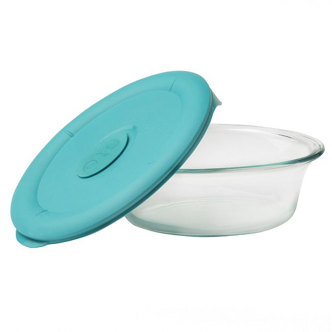 3.67-cup Glass Food Storage Container with Turquoise Vented Lid