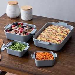 Modern Ash Stoneware 4-pc Bakeware Set with food inside