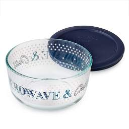 Simply Store® 4 Cup 'Microwave  &  Chill' Storage Dish w/ Dark Blue Lid