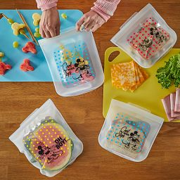 Mickey Mouse 4-piece Silicone Bag Set with food inside