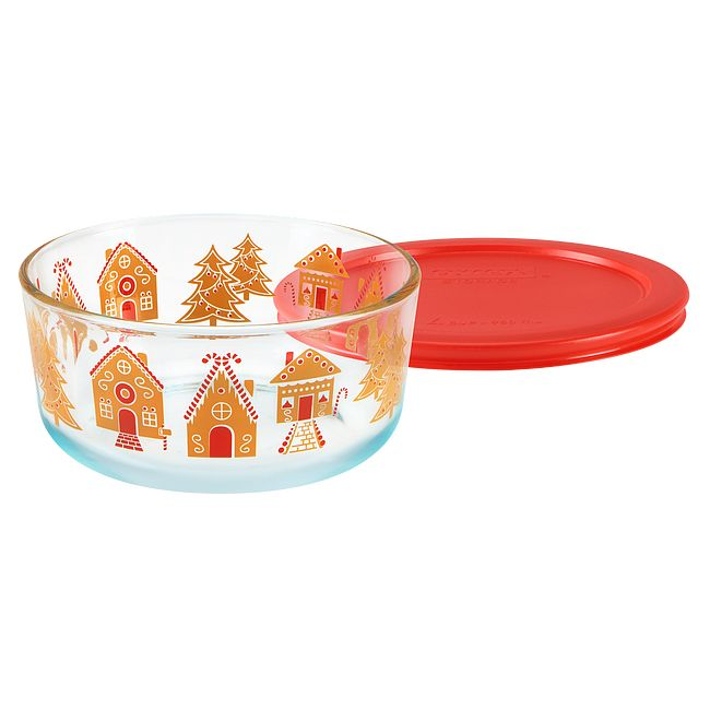 Gingerbread Village 7-cup Glass Food Storage Container with Lid
