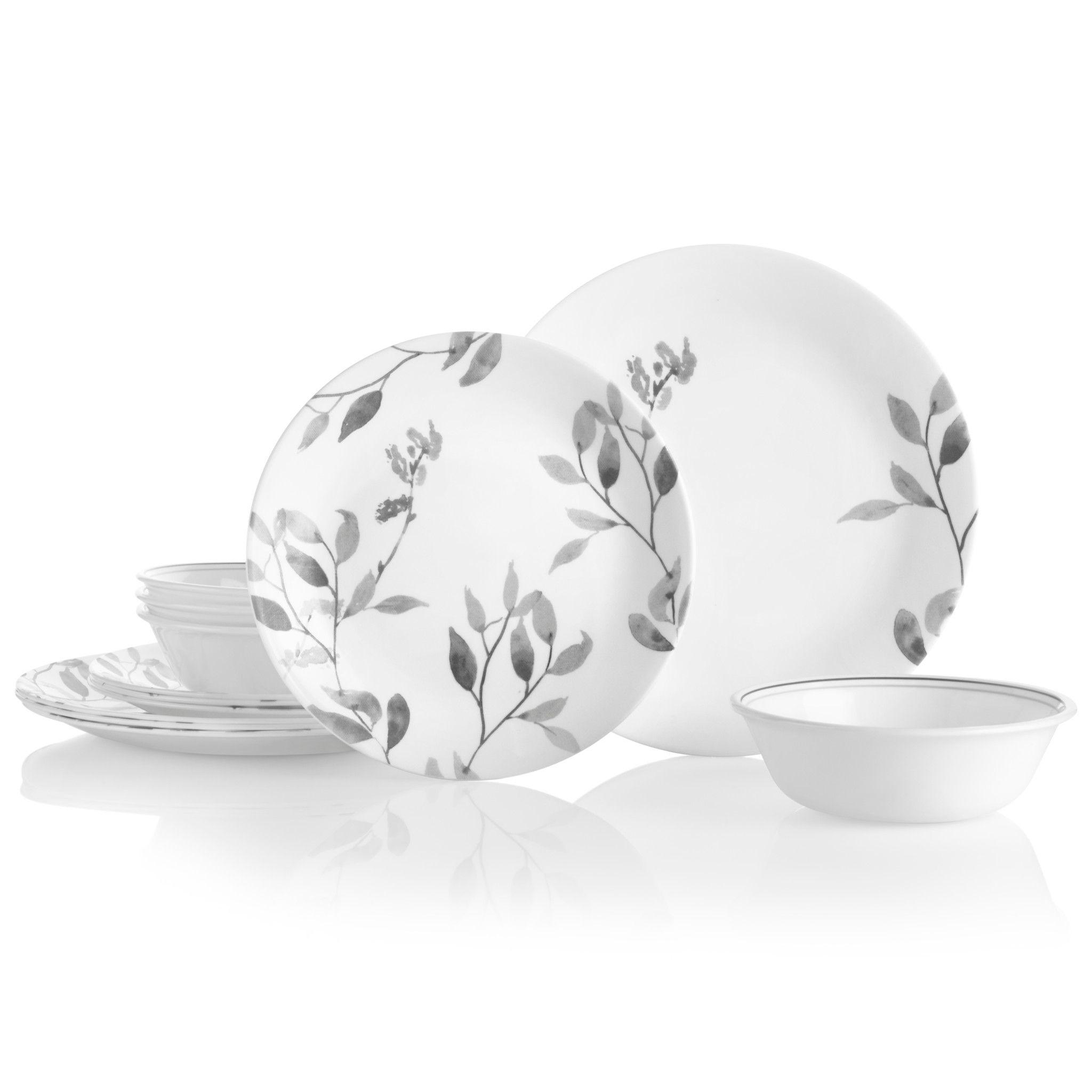 Misty Leaves 12-piece Dinnerware Set, Service for 4