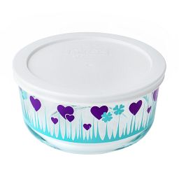 Midnight Garden 4 Cup  Storage Dish with White Lid On
