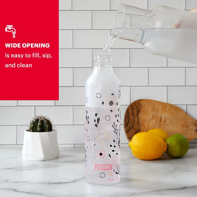 17.5-ounce Glass Water Bottle with Silicone Coating: Florals Yellena
