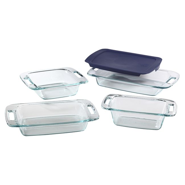 5-piece Glass Bakeware Set with Blue Lid