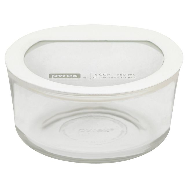 Ultimate 4-cup Glass Food Storage Container with White Lid