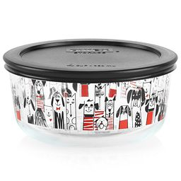 City Dogs 4-cup Glass Food Storage Container with Black Lid