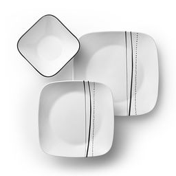 Square Cascading Lines 18-pc Dinnerware Set Top View