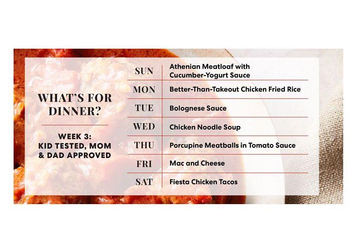 Kid Tested, Mom & Dad Approved weekly menu