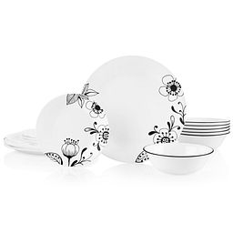 Inked Poppy 18-piece Dinnerware Set, Service for 6